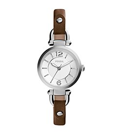 Fossil® Women's Georgia Watch In Silvertone With Brown Dark Leather Strap