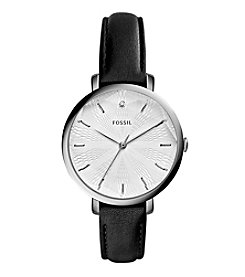 Fossil® Women's Incandesa Watch In Silvertone With Black Leather Strap