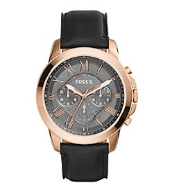 Fossil® Men's Grant Watch In Rose Goldtone With Black Leather Strap