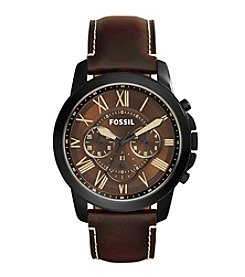 Fossil® Men's Grant Watch In Blacktone With Brown Leather Strap