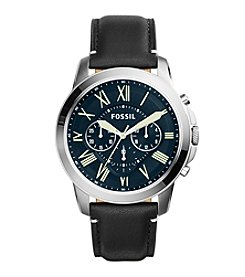 Fossil® Men's Grant Watch In Silvertone With Black Leather Strap