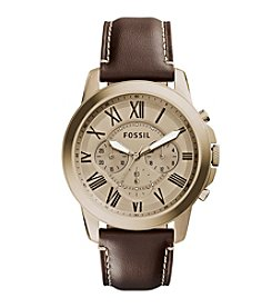 Fossil® Men's Grant Watch In Goldtone With Brown Leather Strap