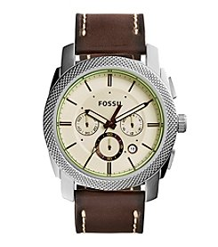 Fossil® Men's Machine Watch In Silvertone With Dark Brown Leather Strap