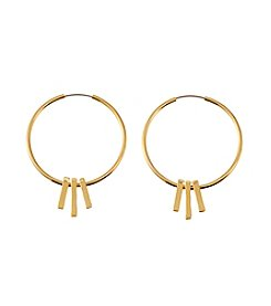 Lauren Ralph Lauren Goldtone Downtown Chic Hoop Earrings With Bar Drops