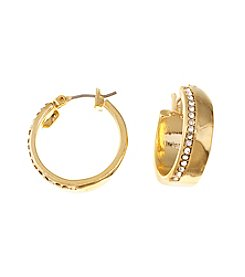 Lauren Ralph Lauren Goldtone Downtown Chic Large Pave Metal Click-It Hoop Earrings