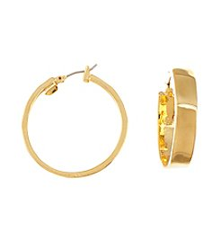 Lauren Ralph Lauren Goldtone Downtown Chic Large Metal Click-It Hoop Earrings