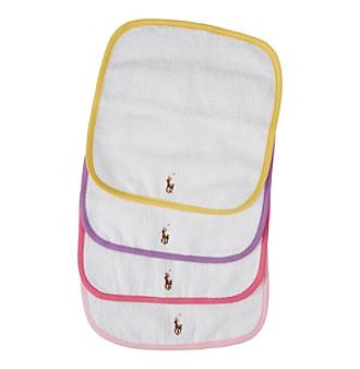 Ralph Lauren® Baby Girls' 4-Pack Multi Colored Washcloth