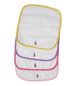 Ralph Lauren Childrenswear Baby Girls' 4-Pack Multi Colored Washcloths