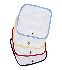 Ralph Lauren Childrenswear Baby Boys' 4-Pack Multi Colored Washcloths