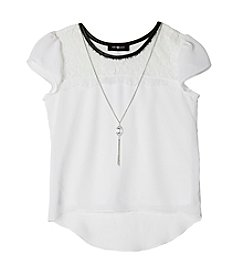 Amy Byer Girls' 7-16 Lace Collar Top
