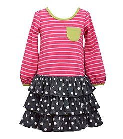 Bonnie Jean® Girls' 2-6X Striped Dress With Polka Dot Skirt