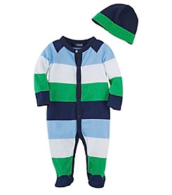 Chaps® Baby Boys' 3-9 Month Striped Coverall With Hat