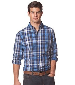 Chaps® Men's Big & Tall Long Sleeve Plaid Poplin Button Down Shirt