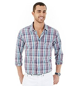 Nautica® Men's Long Sleeve Medium Plaid Button Down