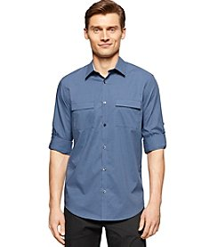 Calvin Klein Men's Long Sleeve End On End Dobby Button Down