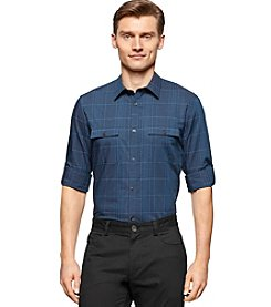 Calvin Klein Men's Long Sleeve Satin Stripe Check Button Down