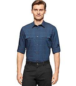 Calvin Klein Men's Long Sleeve Satin Stripe Check Button Down