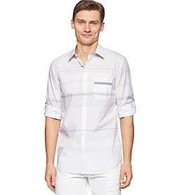 Calvin Klein Men's Long Sleeve Large Stripe Button Down