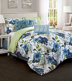 Lush Decor Blue and Green Floral Paisley 7-pc. Comforter Set