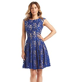 Julian Taylor Fit And Flare Lace Overlay Dress