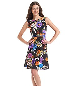 London Times® Petites' Belted Floral Print Keyhole Dress