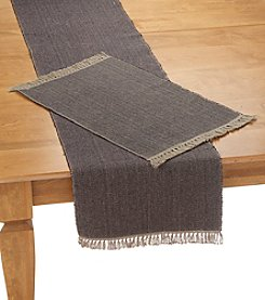 Ruff Hewn Black and Tan Fringe Table Linens
