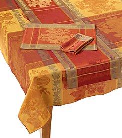 LivingQuarters Pumpkin Jacquard Table Linens