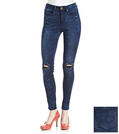 Suede Destructed Skinny Jeans