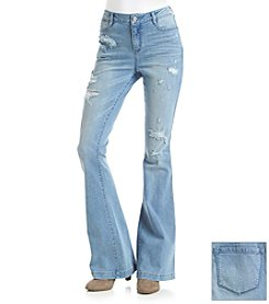 Suede Destructed Flare Jeans