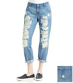 Suede Destructed Boyfriend Jeans