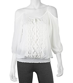 A. Byer Crochet Cold Shoulder Top