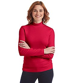 Studio Works® Petites' Solid Mock Neck Pullover Tee