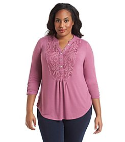 Notations® Plus Size Lace Trim Henley