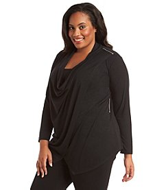 AGB® Plus Size Zip Shoulder Draped Neck Top