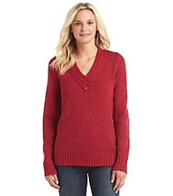 Carolyn Taylor® Solid Crossover V-Neck Sweater