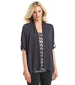 Notations® Zig Zag Print Layered Look Top