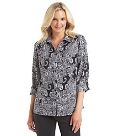 Notations® Paisley Print Button Up Blouse