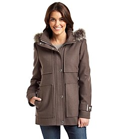 Kenneth Cole New York® Hooded Coat With Faux Fur Trim