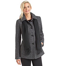 London Fog® Single Breasted Pant Coat With Scarf