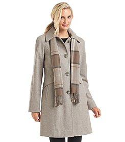 London Fog® Raglan Sleeve A-Line Coat With Scarf