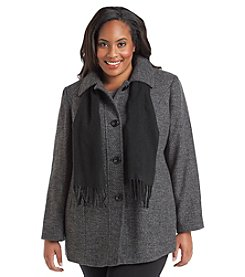 London Fog® Plus Size Single-Breasted Pantcoat With Scarf