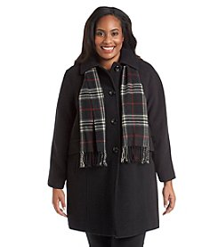London Fog® Plus Size Raglan Sleeve A-Line Coat With Scarf