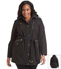 MICHAEL Michael Kors® Plus Size Three-Quarter Hooded Belt Coat