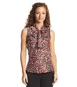 Nine West® Dot Print Bow Blouse