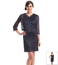 Jessica Howard® Petites' Metallic Crinkle Jacket Dress