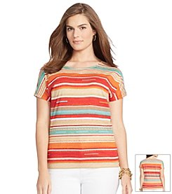 Lauren Ralph Lauren® Plus Size Striped Cotton T-Shirt
