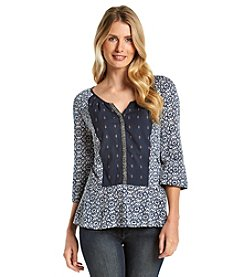 Vintage America Blues Printed Notch Top
