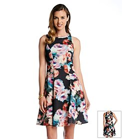Karen Kane® Abstract Rose Scuba Dress