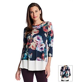 Karen Kane® Abstract Rose Contrast Hem Top