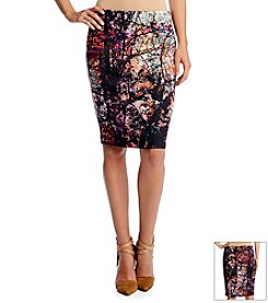Karen Kane® Painted Forest Scuba Skirt